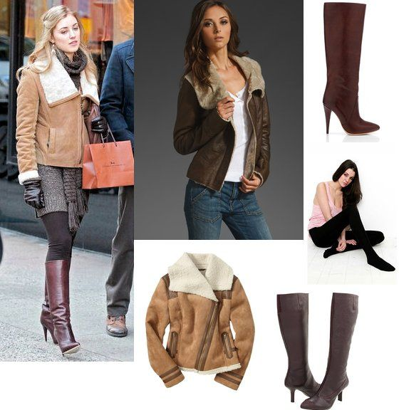 On Lola Rhodes: Doma Shearling Jacket, Ralph Lauren Sweater Dress, Loeffler Randall 'Myrna' Stiletto Boot, ROMYGOLD Bag, Roberto Coin Earrings, Plush Lined Tights in Brown