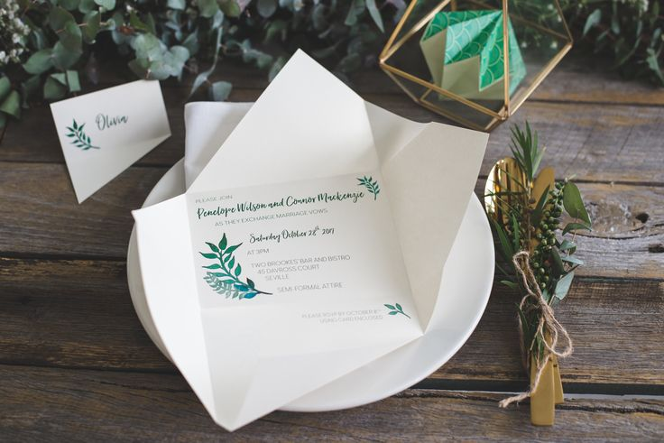 Custom rustic wedding invitation | Origami wedding invitation by A Tactile Perception | RSVP card | Greenery wedding invitation