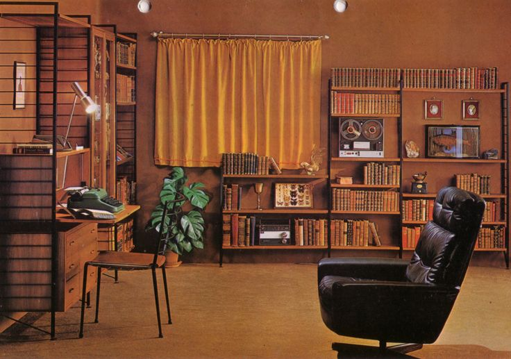 "An opulent Ladderax furnished study. ""Too many books are never a bind with Ladderax units. Plan the system to any shape you require."""