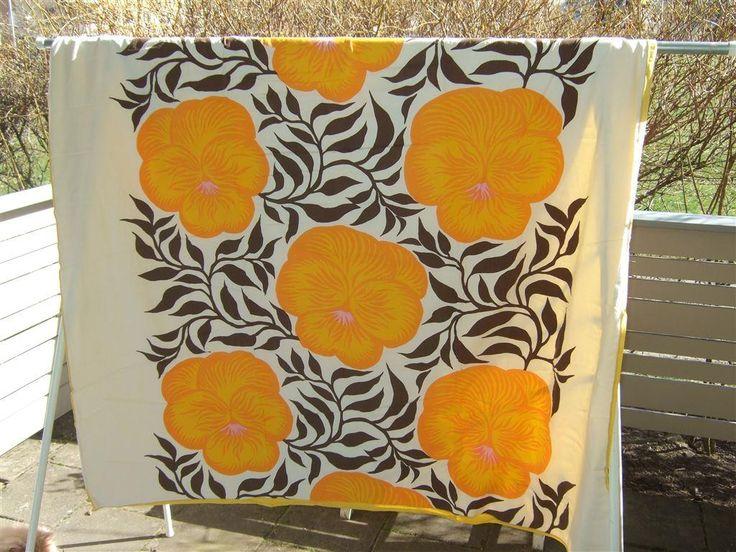 Påslakan, retro mönstrat i gult på Tradera.com - Sängkläder   Textilier