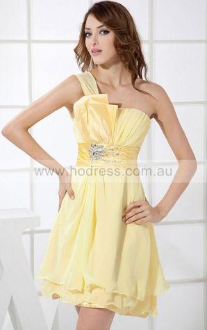 Chiffon One Shoulder Empire A-line Short Bridesmaid Dresses 0800015--Hodress