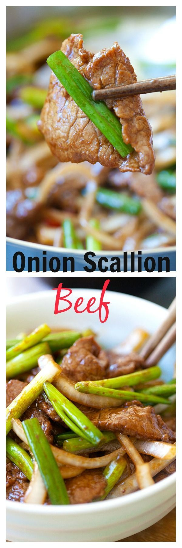 Onion scallion beef – tender beef stir-fry in yummy Chinese brown sauce. Super easy recipe that takes only 20 mins | http://rasamalaysia.com