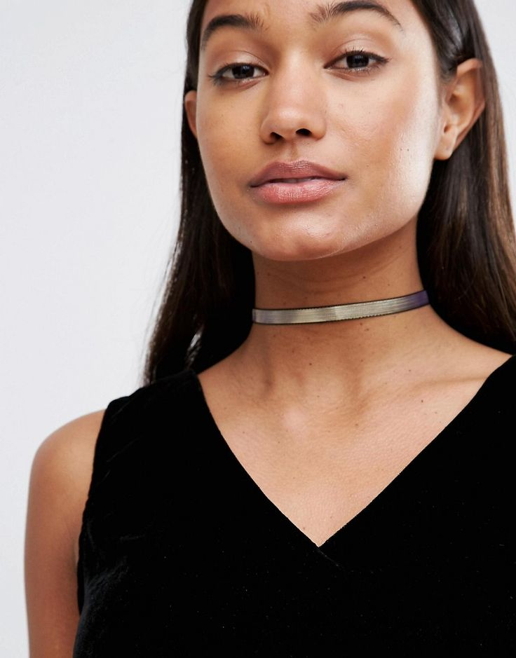 River Island – Choker-Kette in Metallic