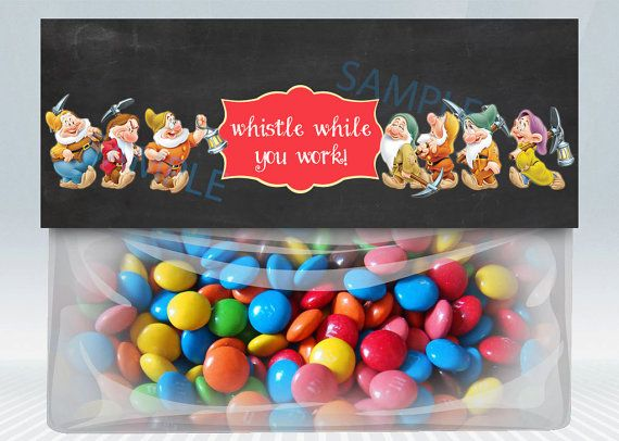 Snow White favor bag topper treat candy party by PrintablesToYou