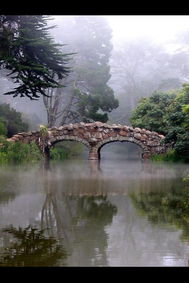 Stone Bridge In The Fog At Golden Gate Park, San Francisco