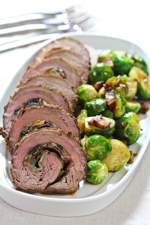 ...Dinner, Brussels Sprouts, Stuffed Flank Steak, Beef, Food, Mushrooms Recipe, Meat, Ham, Wild Mushrooms