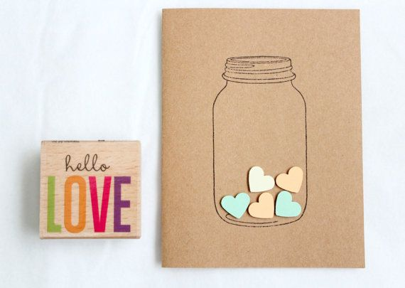 Love Heart in a Jar Handmade Stationary Cards por FancifulChaos, $5.99