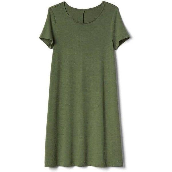 Gap Women Supersoft Knit Short Sleeve T Shirt Dress ($35) ❤ liked on Polyvore featuring dresses, jungle green, tall, jersey dress, gap dresses, green t shirt dress, short sleeve jersey and tee shirt dress