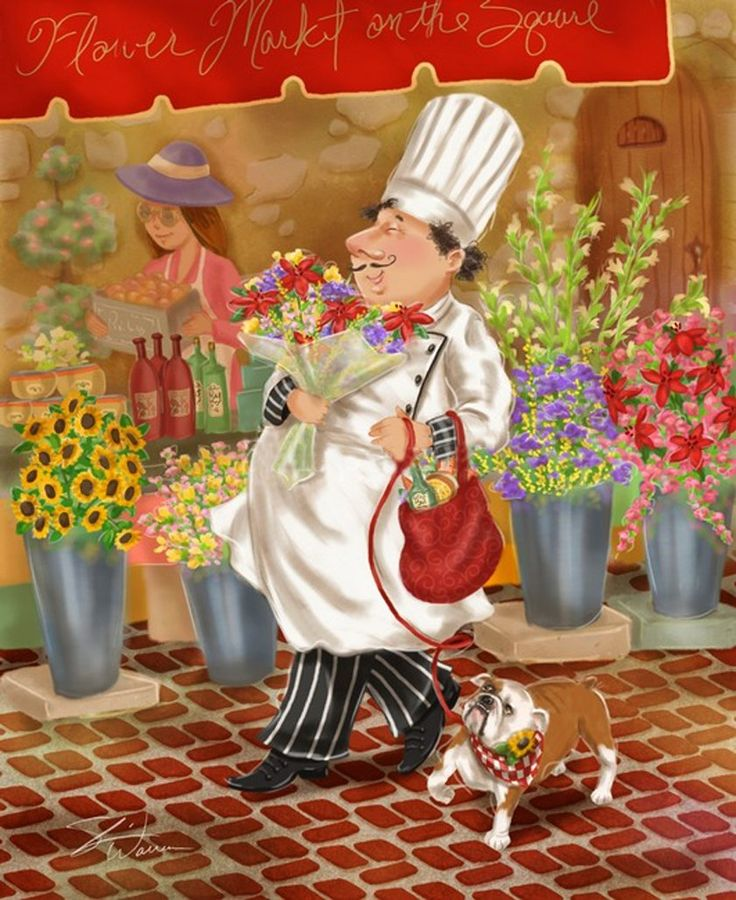chef buys flowers