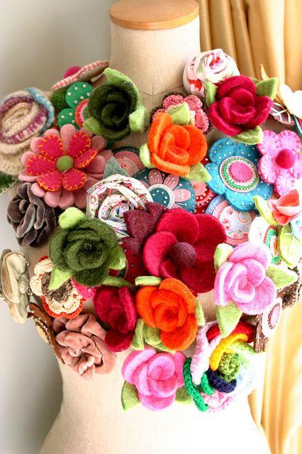Beautiful Display of Felt Flowers