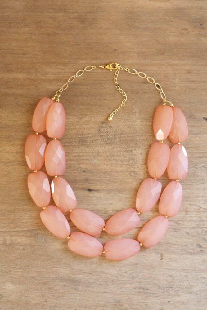 Peach Coral Double Strand Layered Statement Necklace. $42.00, via Etsy.
