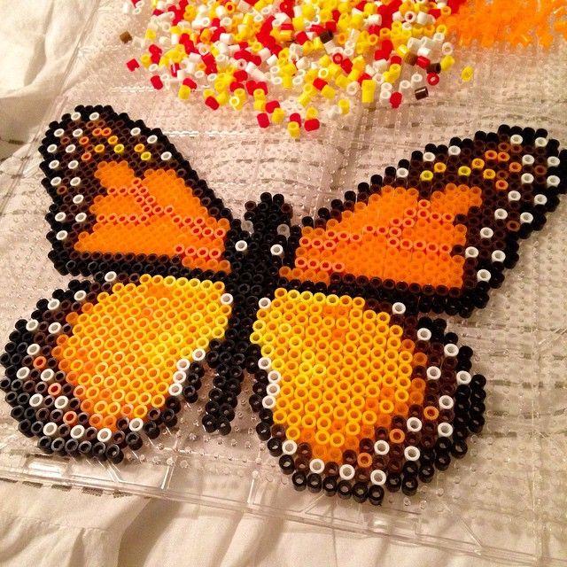 Monarch butterfly perler beads by rayleerawrrr