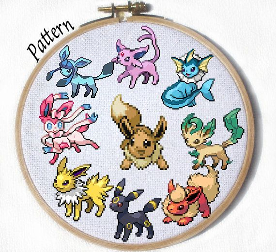All Eeveelutions- 9 Cross stitch patterns- Eevee, Jolteon, Flareon, Vaporeon, Umbreon, Espeon, Leafeon, Glaceon and Sylveon on Etsy, $8.45