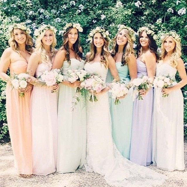 Pastel colors for the bridesmaids. I love this idea for a daytime wedding. They look stunning. | http://mysweetengagement.com/galleries/bridesmaids