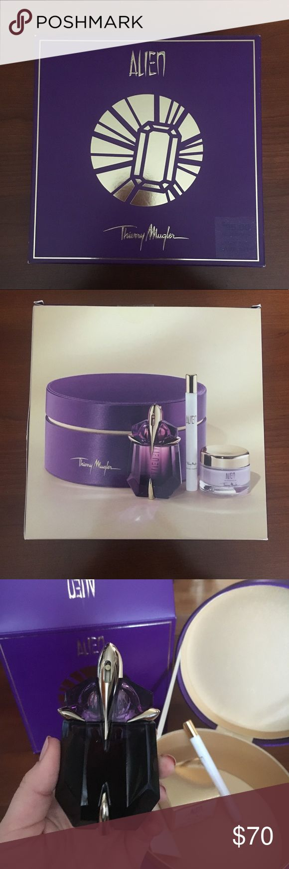 NWT MUGLER Alien holiday set! NWT MUGLER Alien eau de parfum holiday set! Includes 1 oz. refillable Alien EDP spray, 0.23 oz. deluxe purse spray and 1 oz. deluxe luxurious body cream! All product is authentic and housed in beautiful purple round box. Amazing holiday gift, open to all reasonable offers!! Mugler Other