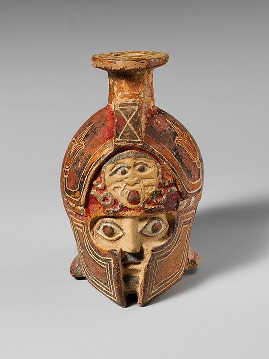 Terracotta aryballos in the form of a helmeted head Archaic,ca600-575 BC East Greek Terracotta