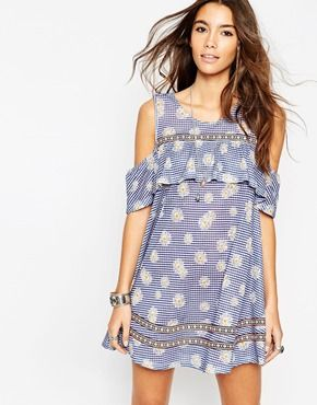 ASOS Gingham and Daisy Sundress with Tape Trim