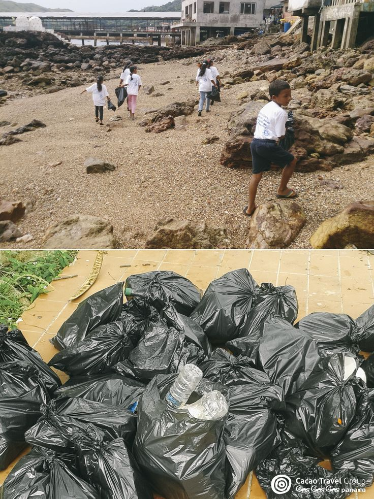 The kids in action! #Taboga #Panama #Island #BeachCleaning #Beach