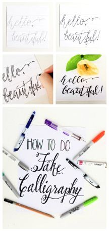 Does dip pen calligraphy seem a little too intimidating?  Create your own fake calligraphy using supplies you probably already have.