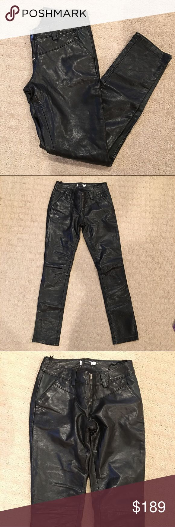 "Topshop genuine leather black skinny pants 00 XXS Genuine leather skinny pants from Topshop (tag is cut). I used to love these but 2 kids later and they don't fit anymore. Perfect length to wear with heels, flats, sandals. Snug fit, belt loops, pockets. Excellent condition except the exposed zipper is missing two bottom teeth. Still works, I wore them this way, just have to be careful getting them on/off. Soft leather. It not too thin, lined to knee. Rise 7.25"" hip 34"" inseam 28.5"". Uk4, fit…"