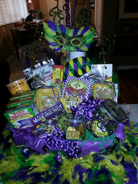 made this mardi gras party basket for the united way raffle at the hospital turned