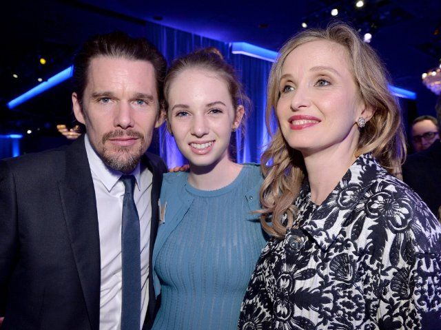 Ethan Hawke, Maya Thurman-Hawke and Julie Delpy, nominated for Beyond Midnight