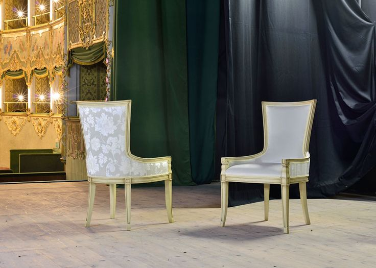 Maeva armchair. Beautiful piece of design, from new VenetaSedie luxury collection. Shot in the E. Balzan Social Theatre. There's always a long research for the fabrics and shapes that become aur made in Italy design.