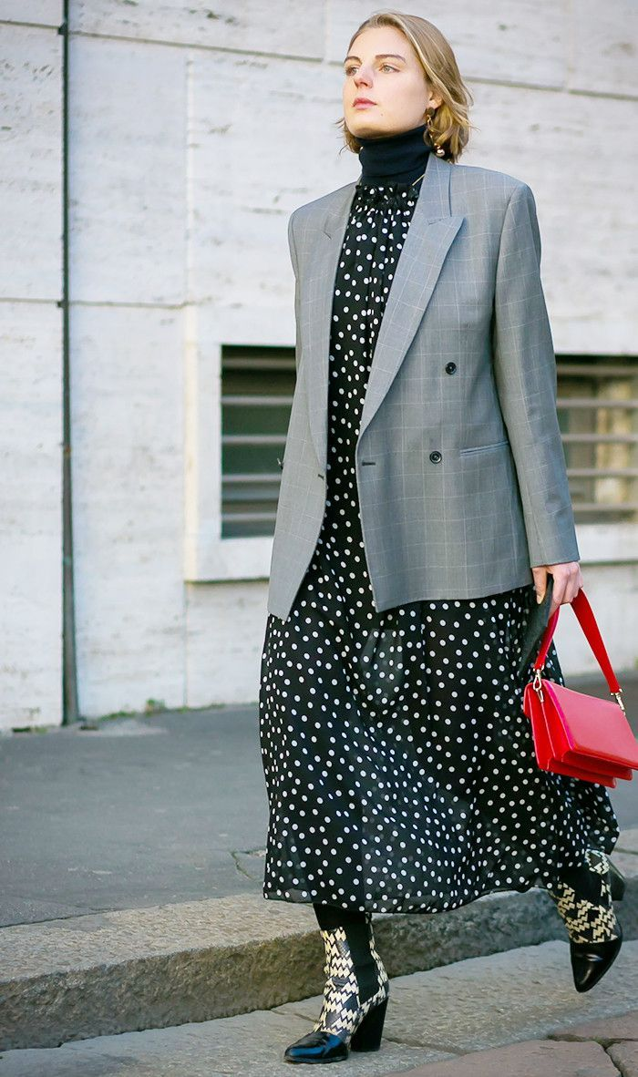 Restyle a feminine dress with a menswear inspired blazer for a fresh look.   Find your style mix at www.WorkingLook.com