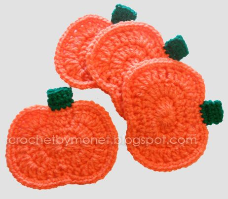 Crochet Pumpkin Coasters - Free Crochet Pattern