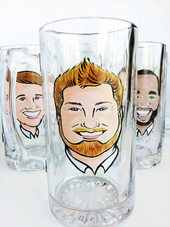 Cool Groomsmen Gift - Original Caricature Beer Mug - Premier Hand Painted Beer Mug - Love these.