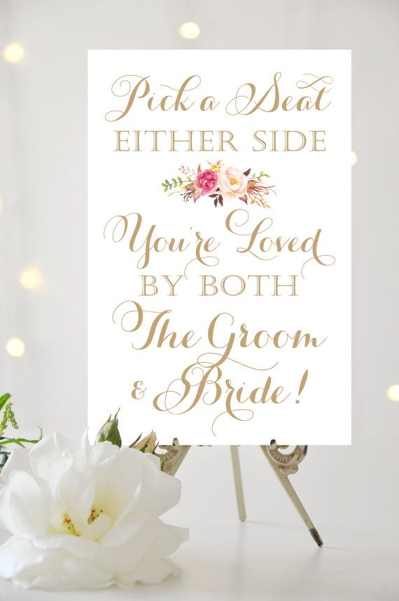 Pick a Seat Either Side Sign  24 x 36 poster by CharmingEndeavours #weddingsigns #wedding #bridal