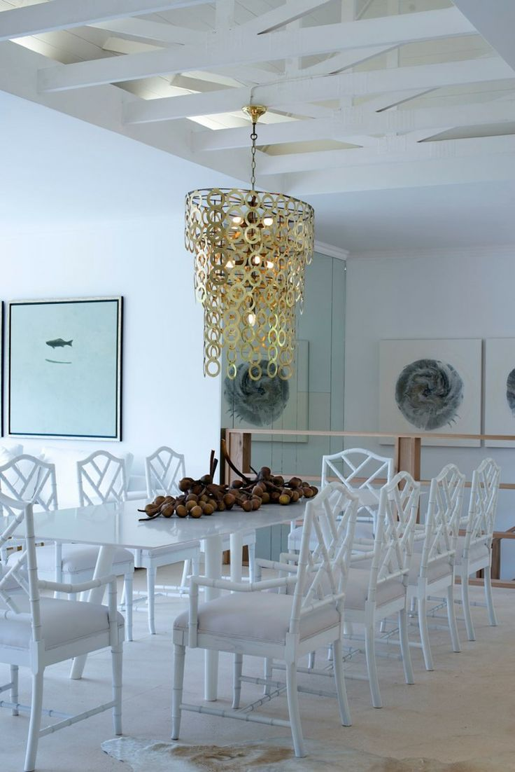 Michele Throssell Interiors > Dining Room > White on White > Serene > Gold Chandelier