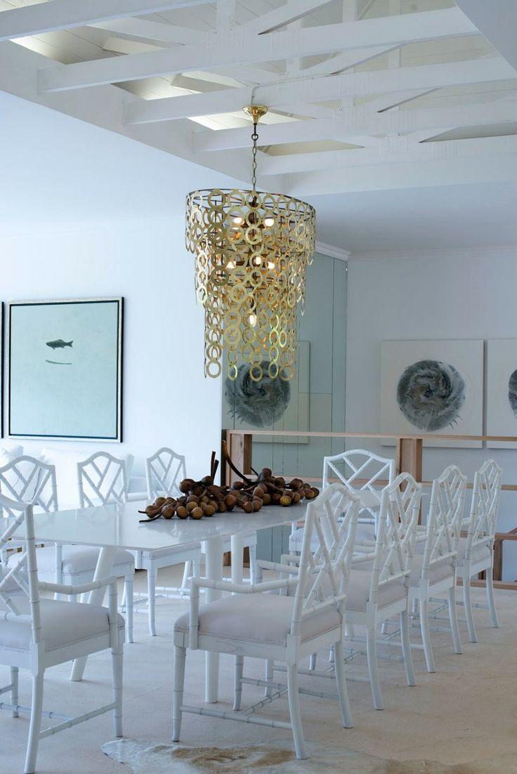 Michele Throssell Interiors > Dining Room > White on White > Serene > Gold Chandelier