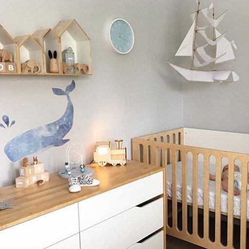 One lucky little love gets to grow up in this beautiful room, our Whale Decal looks right at home! #lovemaestudio #littledwellings #whale