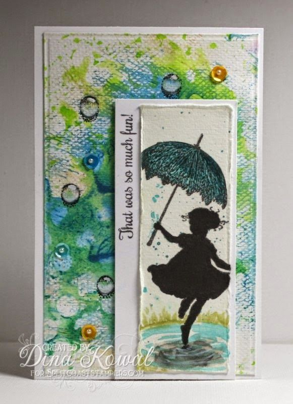 Mama Dini's Stamperia: Mix-Ability - Raindrops and Puddle Jumps --watercolour and Kraftin' Kimmie Dancin' in the rain