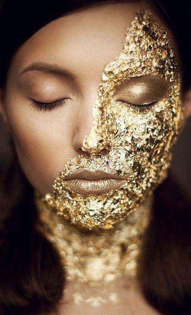 gold leaf makeup source: http://www.pinterest.com/pin/23010648070161558/