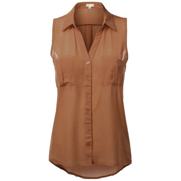 J.TOMSON Womens Sleeveless Button Down Blouse ($9.99) ❤ liked on Polyvore featuring tops, blouses, shirts, brown button down shirt, sleeveless shirts, brown blouse, sleeveless button up shirt and shirt top