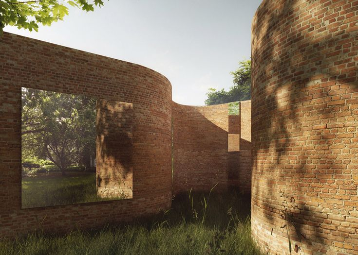 This curvy brick house for Madison, Wisconsin, is designed by architects Thomas Phifer and Partners to resemble a serpentine garden wall.