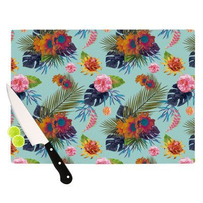 KESS InHouse Tropical Floral Cutting Board Size: