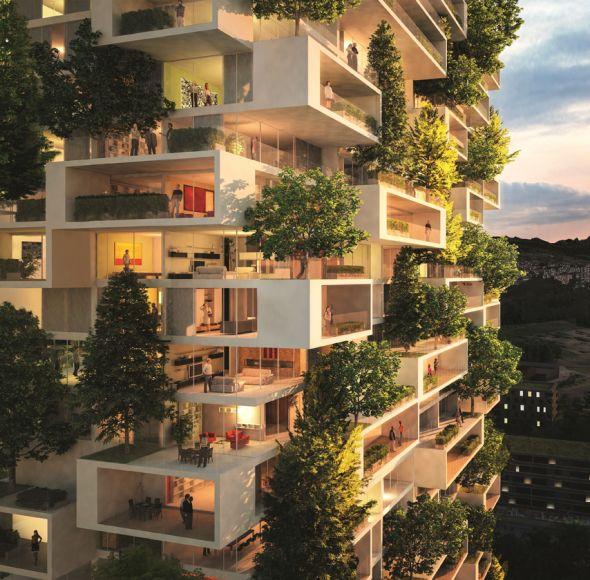La Tour des Cèdres o torre de los cedros es el nuevo edificio cubierto de árboles que se construye en Suiza.