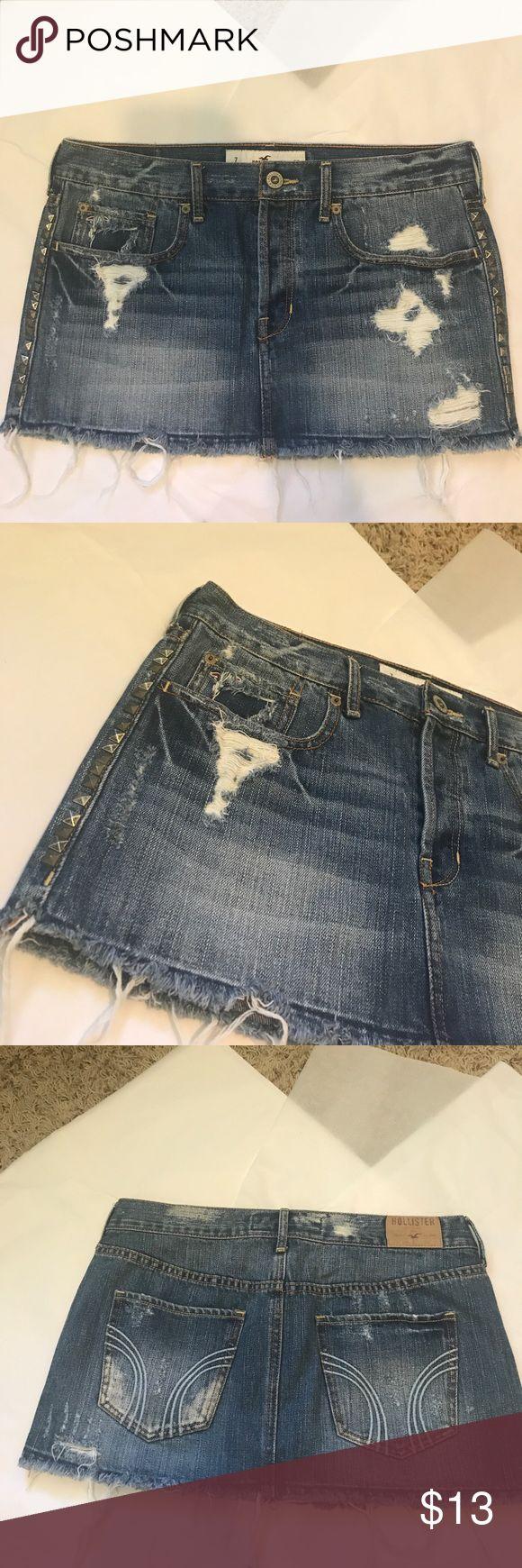 ⚡️ SALE ⚡️Hollister Distressed Jean Mini Skirt Hollister Distressed Jean Mini Skirt in excellent condition! Hollister Skirts Mini