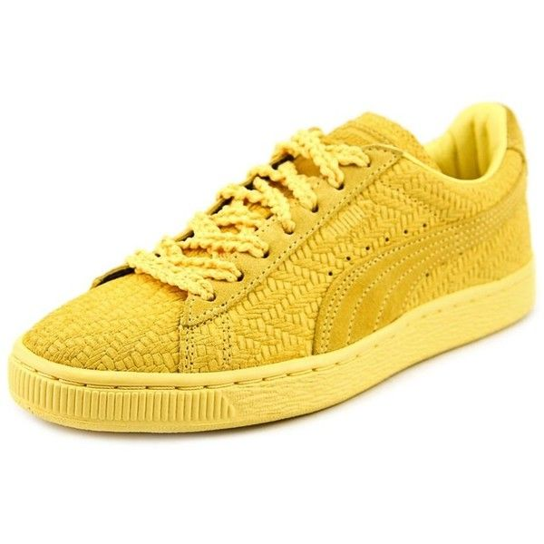 Puma Puma Suede Classic Woven Wn's Women Round Toe Synthetic Yellow... ($58) ❤ liked on Polyvore featuring shoes, sneakers, yellow, grip shoes, grip trainer, yellow sneakers, puma sneakers and puma trainers