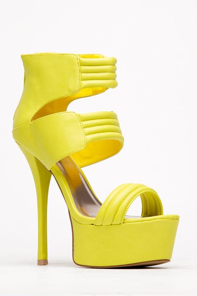 Neon Yellow Quilted Platform Heel