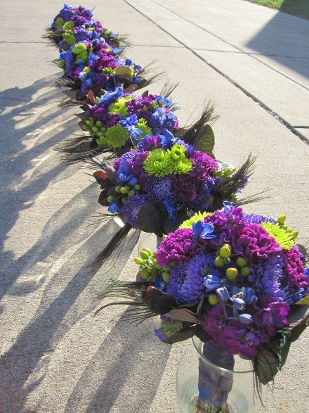 purple, blue and green bouquets