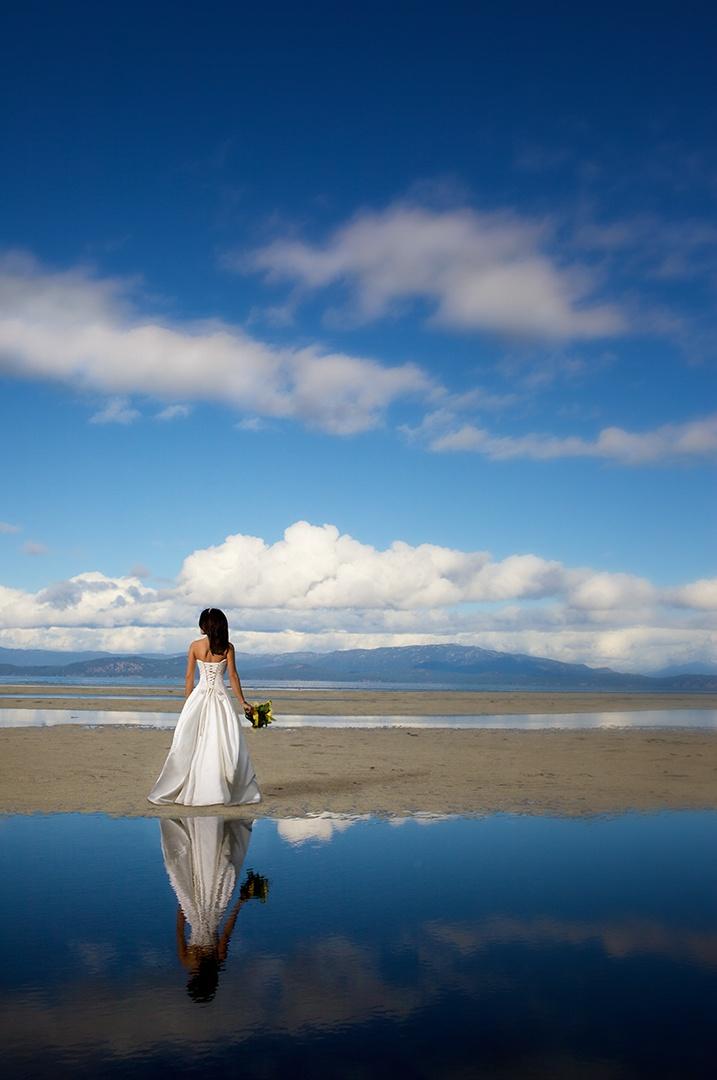 Bride on the beach at the Beach Club Resort