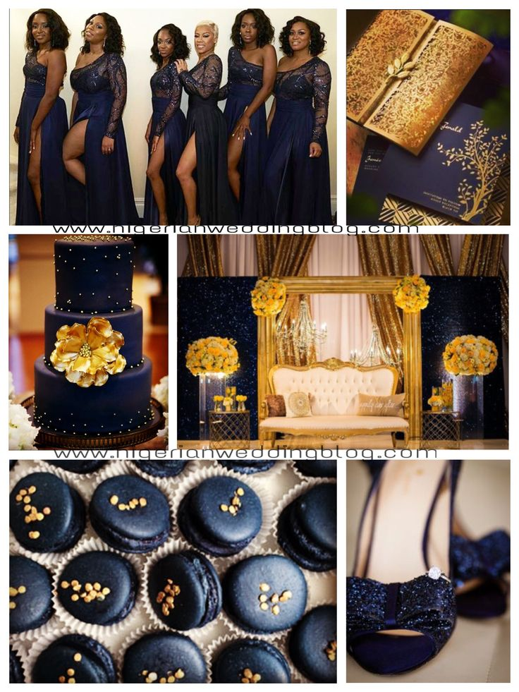 Regal Sequin, Midnight Blue, Gold & Yellow Wedding Color Scheme - Nigerian Wedding