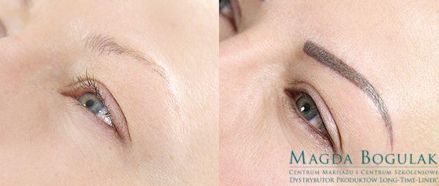 Oczy i brwi Emilii przed i po zabiegu makijażu permanentnego.