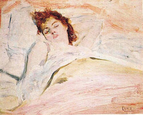 "Ensueños de Amor, 1890 by Juan Luna.  Literally ""Daydreams of Love"", is a ""dreamy"" oil on wood painting. It depicts Luna's wife Maria de la Paz Pardo de Tavera while sound asleep."