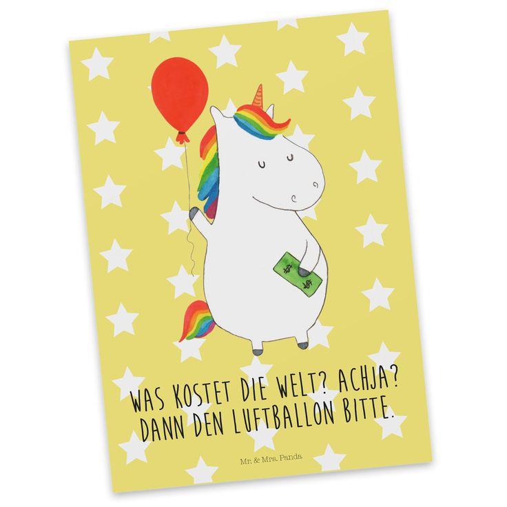 Postkarte Einhorn Luftballon aus Karton 300 Gramm  weiß - Das Original von Mr. & Mrs. Panda.  Diese wunderschöne Postkarte aus edlem und hochwertigem 300 Gramm Papier wurde matt glänzend bedruckt und wirkt dadurch sehr edel. Natürlich ist sie auch als Geschenkkarte oder Einladungskarte problemlos zu verwenden. Jede unserer Postkarten wird von uns per hand entworfen, gefertigt, verpackt und verschickt.    Über unser Motiv Einhorn Luftballon  Ein Einhorn Edition ist eine ganz besonders…