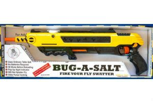 Bug-a-salt Fly Killing Gun. I friggin hate flies. Seriously. Molded out of tough plastic, the Bug-a-salt can be loaded with table salt to hunt down those pesky buggers.